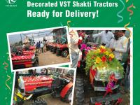 Customers are seen decorating their new VST Shakti Tractor before delivery.